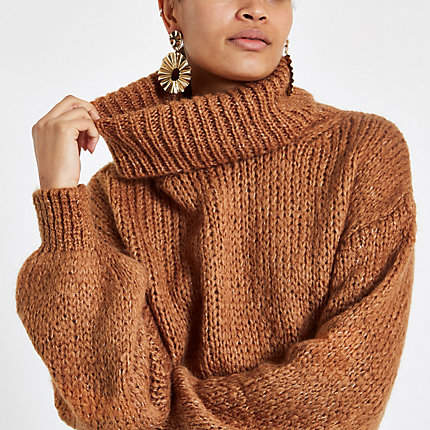 Womens Brown roll neck long sleeve knit jumper
