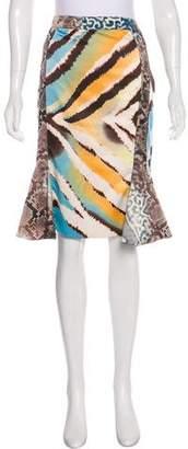 Just Cavalli Satin Printed Skirt