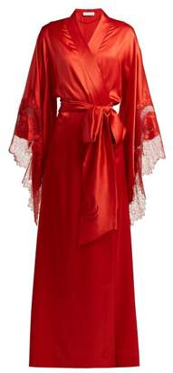 Carine Gilson Lace Trimmed Silk Kimono Robe - Womens - Red