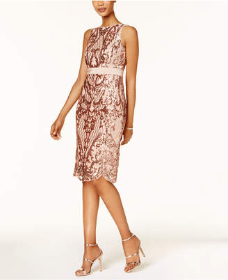 Adrianna Papell Sequined Mesh Cocktail Dress