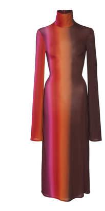 Ellery Bach High-Necked Striped Jersey Midi Dress Size: 10