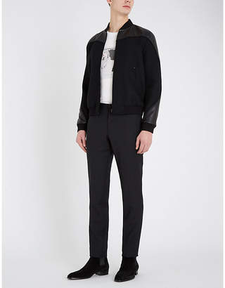 Saint Laurent Panelled wool-blend and leather jacket