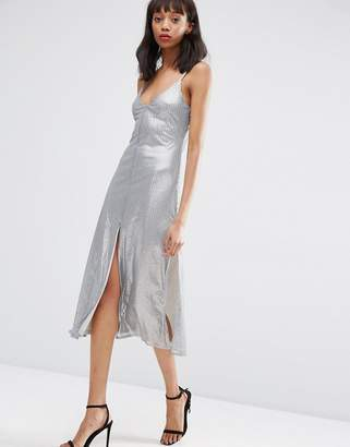 Asos DESIGN NIGHT Embellished Metal Sequin Cami Midi Dress