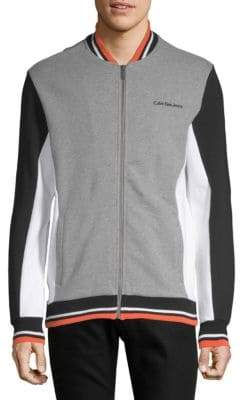 Calvin Klein Jeans Athletic Color-Block Bomber Sweater