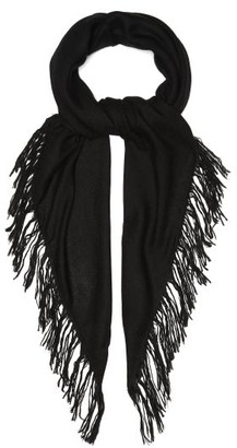 Raey Fringed Western Style Cashmere Scarf - Womens - Black