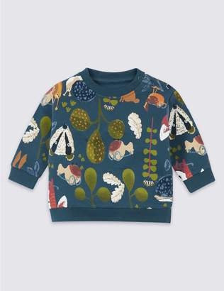 Marks and Spencer Cotton Garden Print Sweatshirt with Stretch