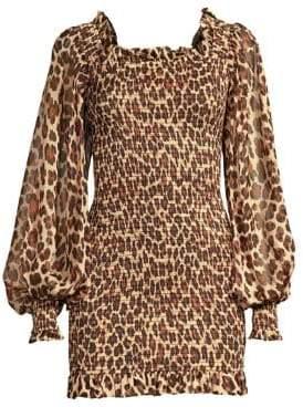 Caroline Constas Damaris Leopard Print Silk Dress