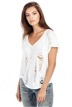 True Religion Womens Ripped V Neck Tee
