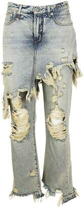 R 13 Ripped Skirt Over Jeans