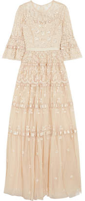 Needle & Thread Roses Embellished Satin-trimmed Tulle Gown - Beige