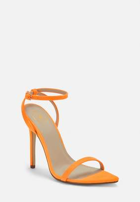 Missguided Neon Orange Faux Suede Barely There Heels