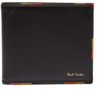 Paul Smith Artist Stripe Trimmed Leather Bi Fold Wallet - Mens - Black