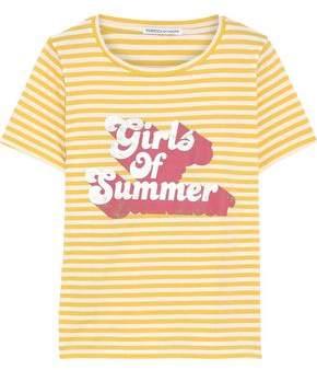 Rebecca Minkoff Printed Striped Cotton-jersey T-shirt