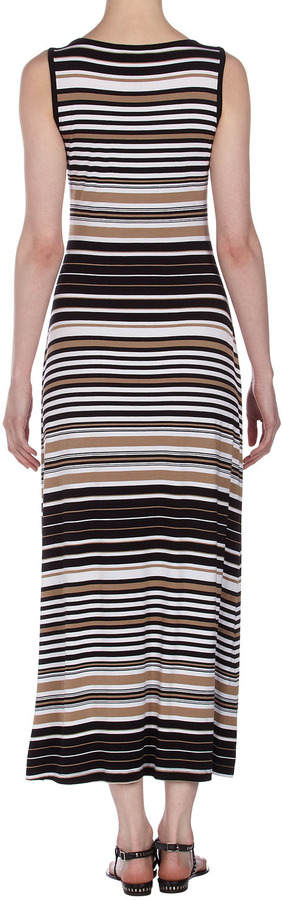 Neiman Marcus Maxi Tank Dress, Black/White/Brown
