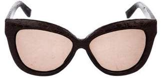 Linda Farrow Luxe Snakeskin Cat-Eye Sunglasses