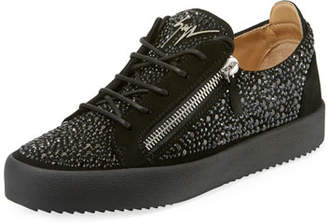 Giuseppe Zanotti Men's Crystal-Embellished Double-Zip Leather Low-Top Sneakers