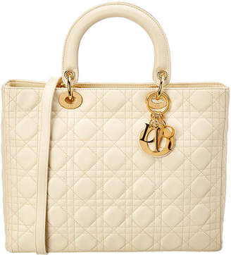 Christian Dior Cream Leather Large Lady