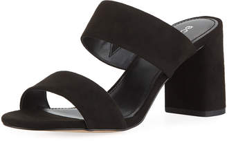 BCBGeneration Bianca Faux-Suede Block-Heel Slide Sandals, Black