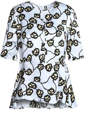 Marni Floral-Print Jacquard Peplum Top