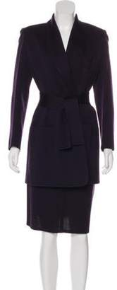 Sonia Rykiel Wool Knee-Length Skirt Suit Purple Wool Knee-Length Skirt Suit
