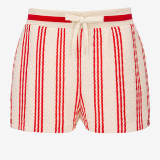 Bally Woven Striped Shorts Multicolor, Women's woven cotton shorts in multi-papavero