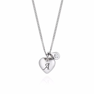 Lee Renee Heart Initial & Diamond Necklace Silver