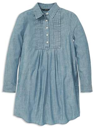 Ralph Lauren Girls' Pleated Chambray Dress - Big Kid
