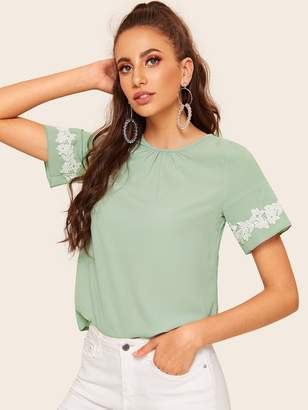 Shein Contrast Lace Applique Gathered Neck Blouse