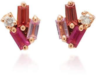 Suzanne Kalan 18K Yellow Gold Diamond And Sapphire Post Earrings