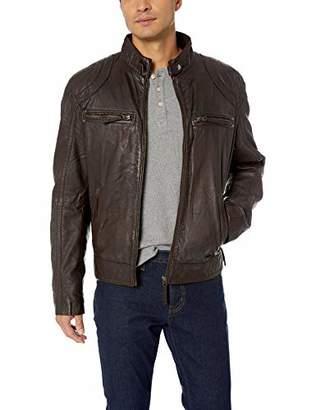 LN LUCIANO NATAZZI Men's Trim Fit Sand Blast Lambskin Leather Moto Jacket