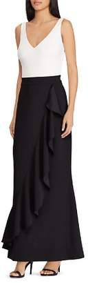 Ralph Lauren Ruffled Color-Block Gown