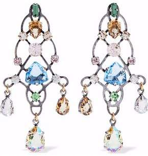 Lanvin Burnished Silver-Tone Crystal Earrings