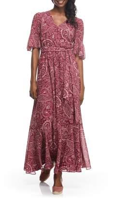 Gal Meets Glam Candace Print Chiffon Maxi Dress