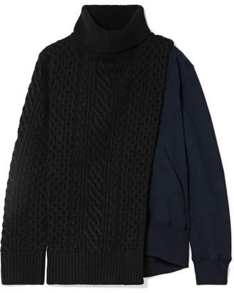 Sacai Cable-knit Wool And Cotton-terry Turtleneck Sweater - Black