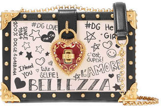 Dolce & Gabbana Dolce Box Embellished Leather Shoulder Bag - Ivory