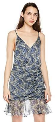 Plumberry Women's Elegant Spaghetti Straps V Neck Sleeveless Bodycon Summer Party Flounce Dress Blue