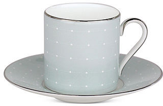 Monique Lhuillier Waterford Dinnerware, Etoile Platinum Blue Espresso Cup and Saucer