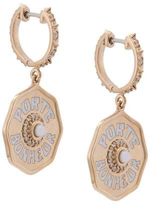 Marlo Laz 14kt gold Je Porte Bonheur Petit diamond earrings