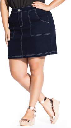 City Chic Breezy Topstitched Miniskirt