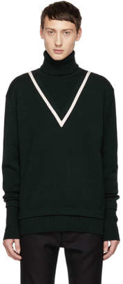 Givenchy Green Fake Double Layer Turtleneck