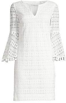 Trina Turk Women's Bell Sleeve Mesh Sheath Dress