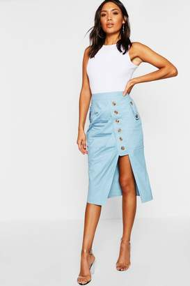 boohoo Mock Horn Button Utility Asymetric Midi Skirt