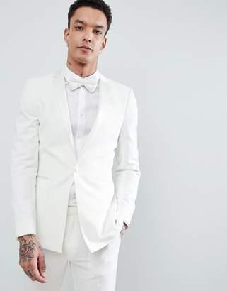 Asos DESIGN Wedding Super Skinny Tuxedo Suit Jacket In Cream With Tonal Lapel