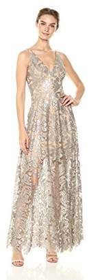 Dress the Population Women's Simone Plunging Sequin Lace Fit and Flare Sleeveless Gown