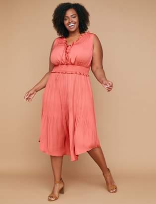 Lane Bryant Lace-Up Midi Dress with Smocked Waist