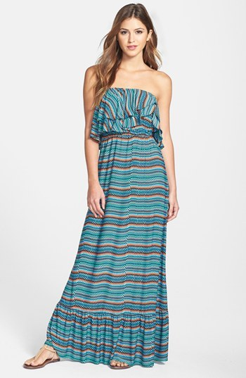 T-Bags Tbags Los Angeles Ruffled Zigzag Maxi Dress