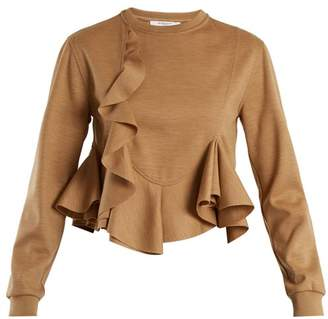 Givenchy Ruffled Hem Wool Jersey Sweatshirt - Womens - Beige