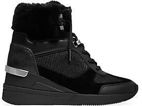 MICHAEL Michael Kors Women's Liv Faux Fur-Lined Mixed-Media Sneaker Wedges