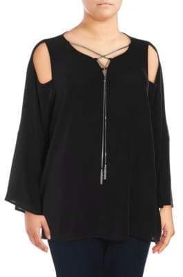 Plus Chain Lace-Up Cold-Shoulder Top