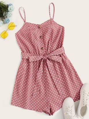 Shein Button Front Polka Dot Belted Romper